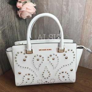 Michael Kors Selma Med TZ Satchel Optic White Gold